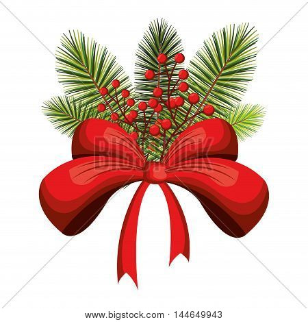 happy merry christmas floral decoration icon vector illustration design