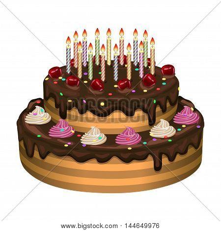 Birthday cake on a white background. Vector illustration