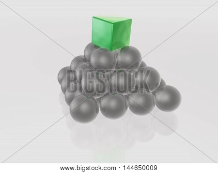 Green cube and grey spheres as abstract background, 3D illustration.