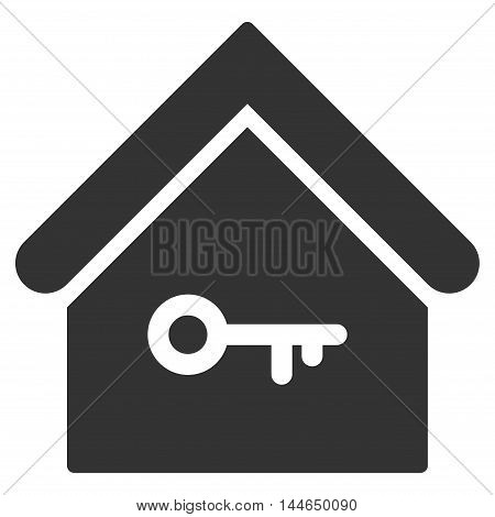 Home Key icon. Glyph style is flat iconic symbol, gray color, white background.