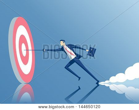 businessman hits the target with a rapier employee running fast to the goal business concept of purpose and success
