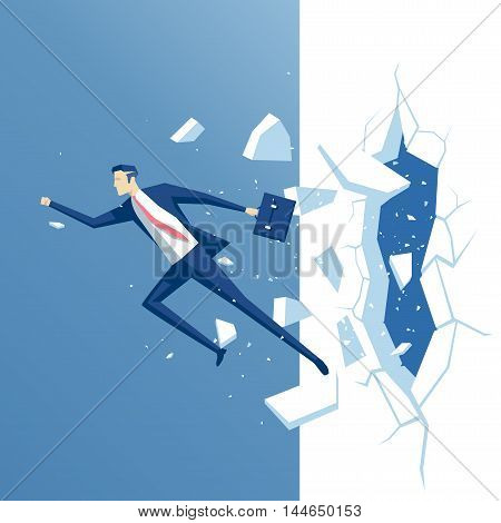 businessman breaks the wall employee overcomes obstacle business concept power and success