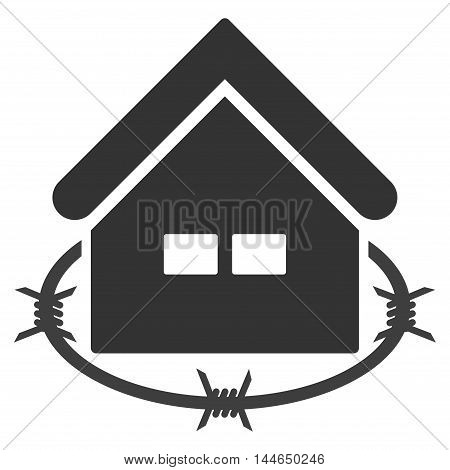 Prison Building icon. Glyph style is flat iconic symbol, gray color, white background.