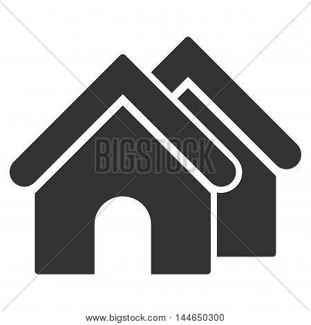 Real Estate icon. Glyph style is flat iconic symbol, gray color, white background.