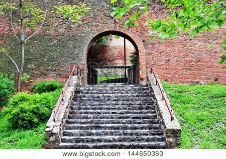 Stairs to the medieval surrounding wall in Sibiu Romania