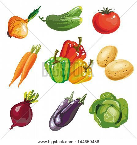 Vegetable set cartoon hand drawn collection. Vector Illustration of tomato and potato, paprica cucumber onion, aubergine eggplant cabage, carrot. Isolated on white.
