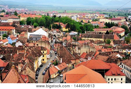 Top view of Sibiu historical centre Transylvania Romania