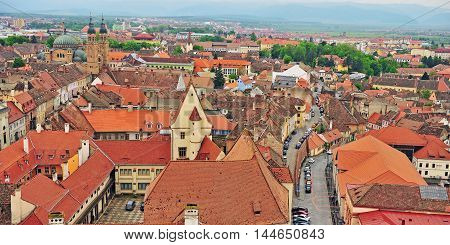 Aerial view of Sibiu city centre Transylvania Romania