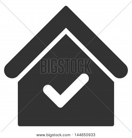 Valid House icon. Glyph style is flat iconic symbol, gray color, white background.