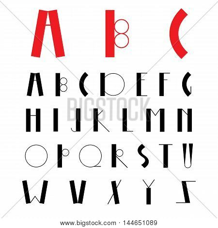 Minimal geometric style font can be used for invitations, card, posters, logo, banners and other design. Latin alphabet letters on a white background. Hipster font, typeface, typography, typewriter