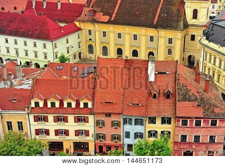 Colorful houses of Sibiu city centre Transylvania Romania