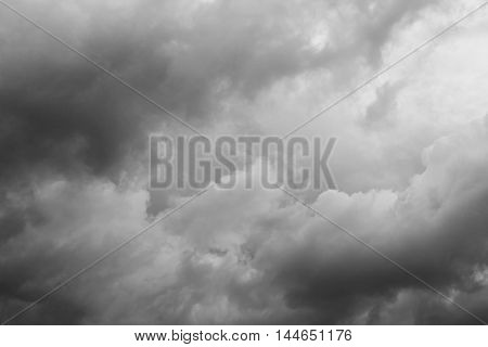 sky and cloud Black and white photo. Beautiful monochrome  : space for add text above and may be used as background :