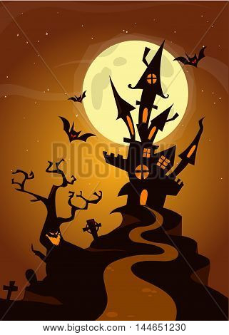 Halloween haunted house on night background with a full moon behind - Vector illustration