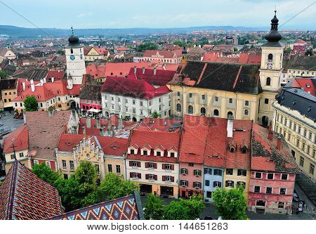 SIBIU ROMANIA - MAY 4: Aerial view of Sibiu city centre on May 4 2016. Sibiu is the touristic city in Transylvania province of Romania.