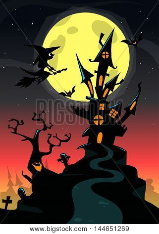 Halloween haunted house on night background with a flying witch and full moon behind. Vector poster template