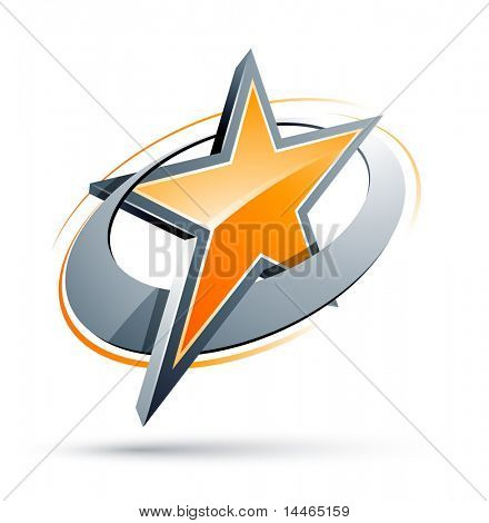 Orange Star In A Chrome Circle