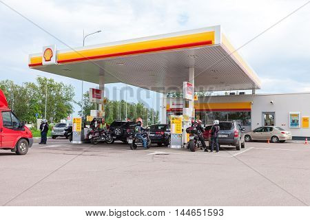 LENINGRAD REGION, RUSSIA - JULY 31 2016: Shell gas station in summer day. Royal Dutch Shell oil company is the 5th largest corporation worldwide