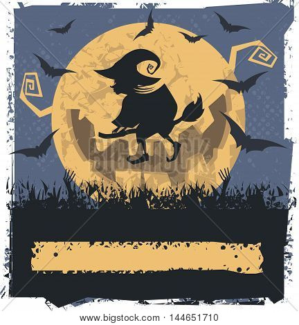 Vector image with Flying Witch On Broom. Can be used for Halloween card ,greeting card, poster and banner.