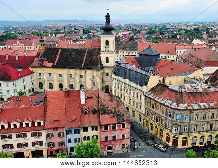 SIBIU ROMANIA - MAY 4: Top view of historical city centre of Sibiu on May 4 2016. Sibiu (Hermannstadt) is the city located in Transylvania region of Romania.