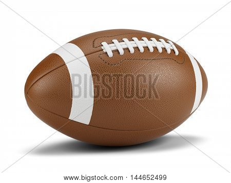 American football ball against a white background. 3d rendering