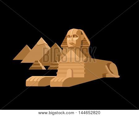 High quality, detailed most famous World landmark. Sphinx and pyramids background. Travel vector