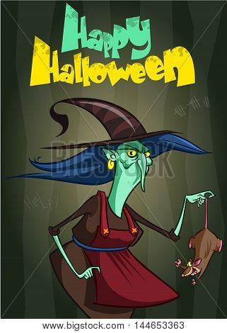 Halloween party invitation with ugly witch with a rat. Vector illustration