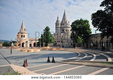 View of the Fisherman's bastion with a nice morning sunlight in Budapest city Hungary