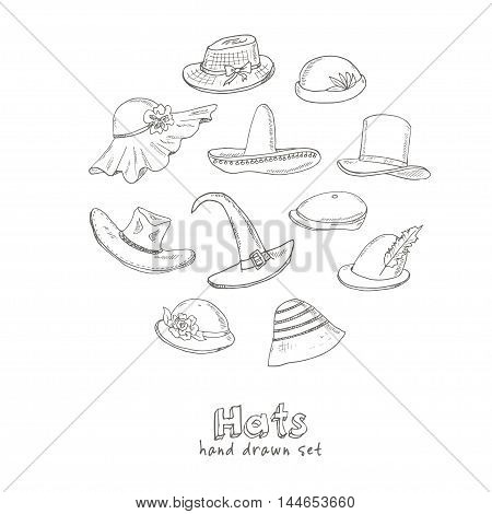 Doodle Set of different head wears. Hat, cap, headgear Vector illustration