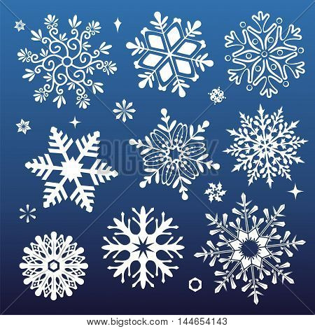 White snowflakes icon on gradient background blue and white colorful. Collection graphic art for your design Merry Christmas and Happy New Year.