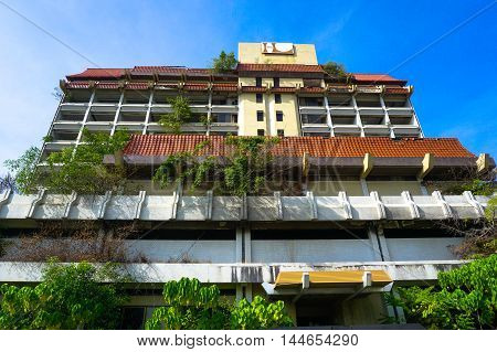 Labuan,Malaysia-Aug 29,2016:View of abandoned hotel Labuanon 21st July 2016 at Labuan island.Hotel Labuan was the top hotel in Labuan 20 years ago.Due to some reasons Hotel Labuan was closed in 1998.