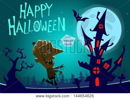 Halloween haunted house on night background with a walking zombie. Vector illustration