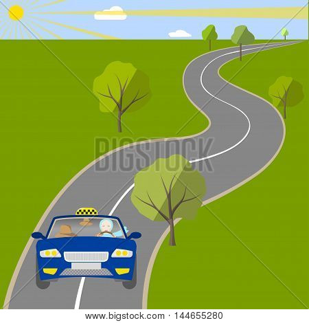 A woman taxi driver driving a car on suburban highway, vector illustration