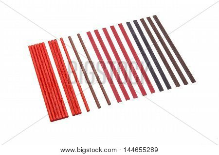 Industrial sharpening stones set in different shapes on white background