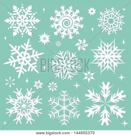 White snowflakes icon on green background. Collection graphic art for your design Merry Christmas and Happy New Year