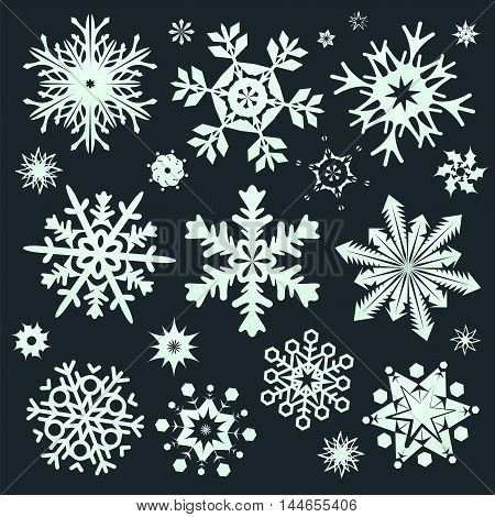 Set of green snowflakes icon. Collection graphic art for your design Merry Christmas and Happy New Year.