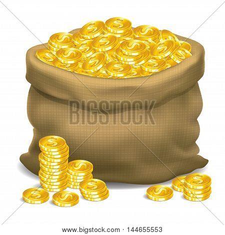 Gray bag full of gold coins. Vector illustration