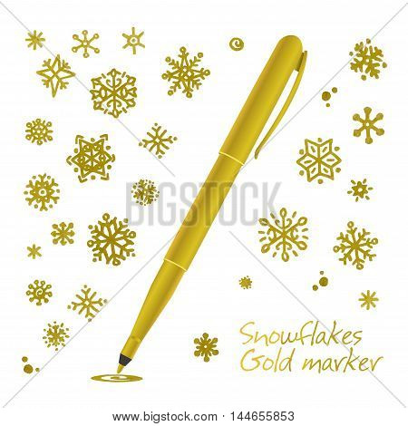 Set of golden hand drawn snowflakes. Collection graphic art for your design Merry Christmas and Happy New Year.