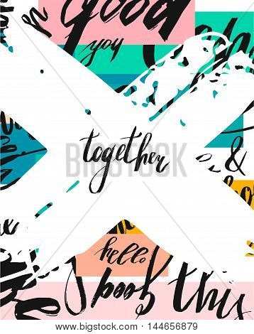 Hand drawn vector abstract brush textured template card on modern background with diferent words and big white cross with word Together.Handwritten lettering.