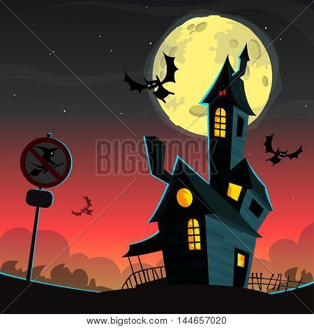 Cartoon Scary haunted house. Vector Halloween background