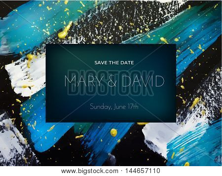 Wedding invitation or card design on abstract painting background. Vector illustration