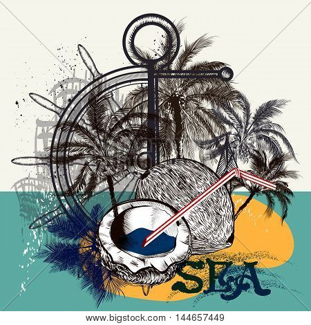 Poster or T-shirt print design with palm trees steering wheel and coco nuts symbol of sea rest summer vacations