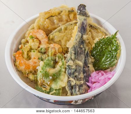 Traditional Japanese vegetables Tendon with tempura in bowl