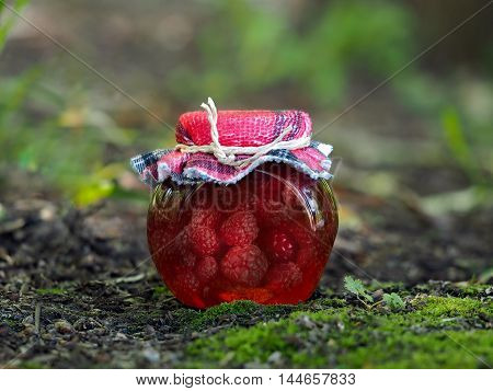 Homemade jam in a jar of raspberry. Background nature forest moss