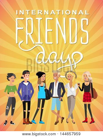 Group of happy friends with Friends day title. Cartoon hand drawn illustration
