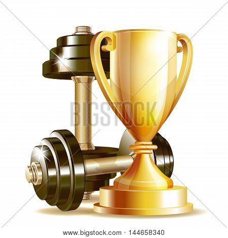 Gold cup with metal realistic dumbbells isolated on white background. Symbol of fitness champion. Realistic vector illustration.