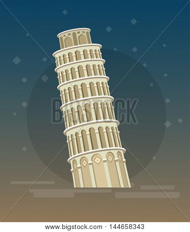 High quality, detailed most famous World landmark. Leaning Tower of Pisa, Italy, Europe. Travel vector