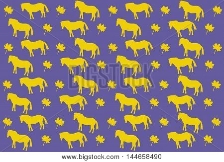 Pattern of small gold horses and maple leaf on blue background
