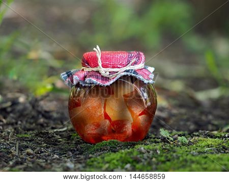 Homemade jam in a jar. large pieces of fruit. Background nature forest moss