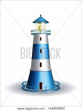 Blue lighthouse isolated on white background. Vector illustration