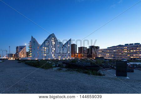 residential neighborhood at Aarhus in Denmark, night scene